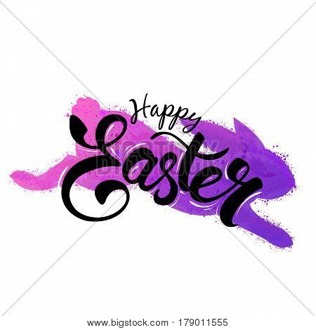 Colorful lilac hare with splashes and Easter greeting hand-lettering, grunge  watercolor imitation. Vector.