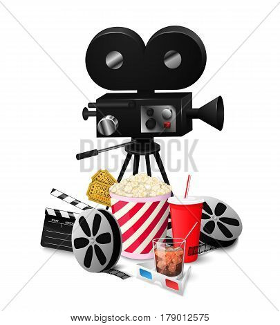 Set cinema elements isolated on white background vector illustration. Composition poster postcard with retro camera director, film, 3D glasses, cola, popcorn, movie tickets symbols for your projects