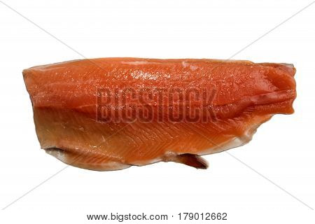 raw irish sea trout fillet isolated on white background