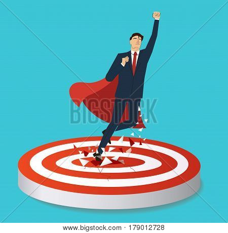 businessman and red cape Breaking target archery to Successful vector. Business concept illustration.