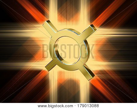 three-dimensional image of the gold currency symbol currency among the colored rays