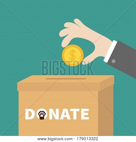 Human hand putting golden coin money with dollar sign into donation paper cardboard box. Helping hands concept. Donate and help pets animals. Dog cat paw print. Flat design. Green background. Vector