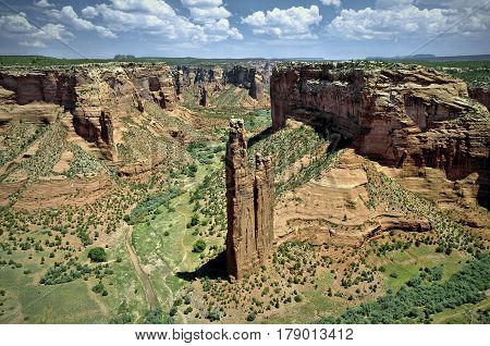 Spider Rock in Canyon de Chelly National Monument in northern Arizona.