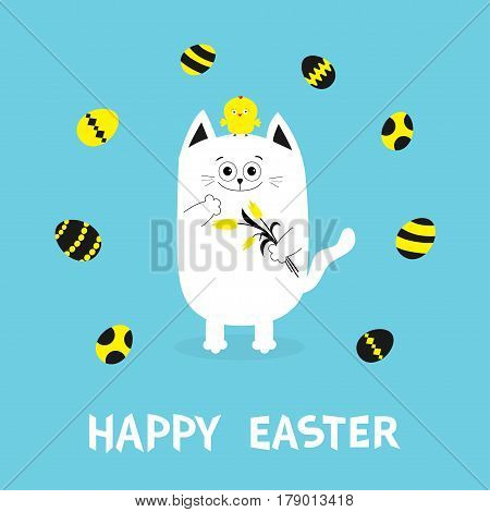 Happy Easter Greeting card. Cat holding yellow tulip flower and chicken bird set. Baby chick bird friends Painting eggs shell.Cute cartoon funny character. Blue background. Flat design. Vector