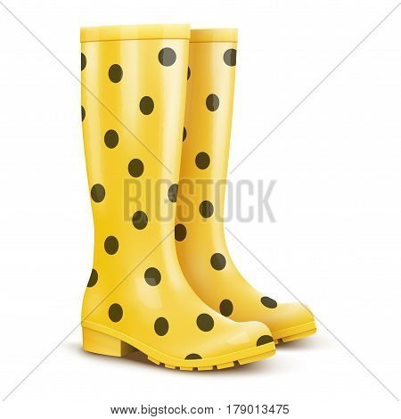 Pair of yellow rubber rain boots with dots. Symbol of garden wok or autumn and weather. Pink color. Fashion illustration Isolated on white background.