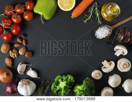 Healthy food ingredients with vegetables and fruits close up
