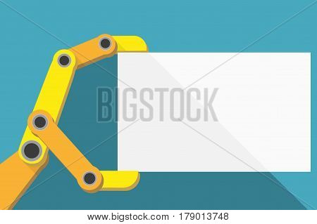 Robot hand holding blank sign with space for text. Flat Design. Industrial Illustration