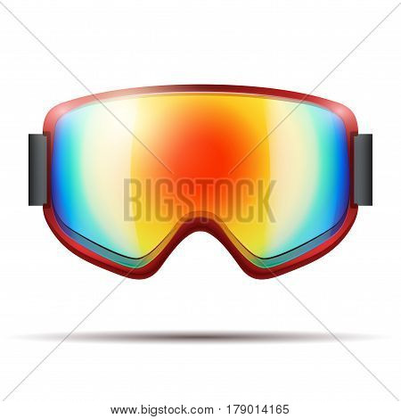 Classic snowboard goggles with big spherical rainbow glass .  isolated on white background