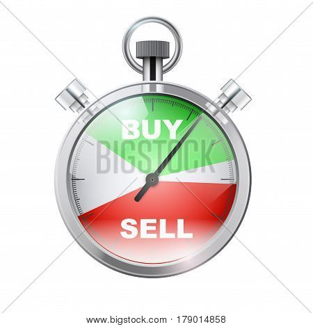 Stopwatch for forex trader. Symbol of Time to trading. Buy or Sell. Illustration isolated on white background.