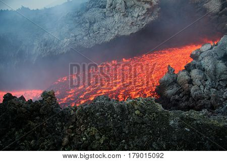 Eruption Etna vulcan lava magma in Sicily