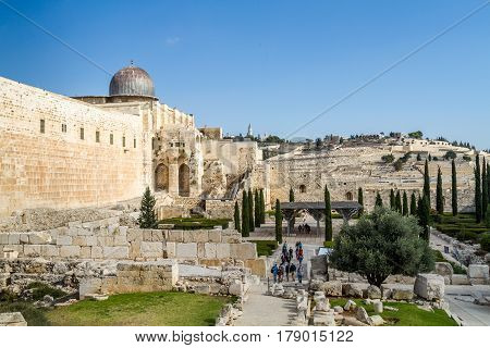 JERUSALEM ISRAEL - DECEMBER 8: View of the Al-Aqsa Mosque on the Temple Mount in Old City of Jerusalem Israel on December 8 2016