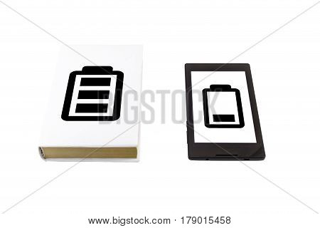 Book Vs Tablet. Battery Life Concept.