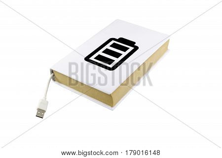 Book With White Male Usb Connector