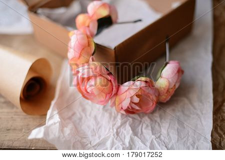 Handmade Floral Tiara Made Of  Flowers Lie On  Wooden Background