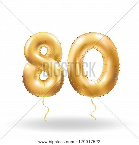 Number Eighty Metallic Balloon
