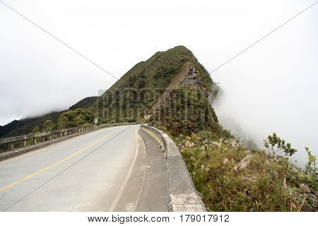 Mountain road in clouds, Yungas region, Bolivia, South America