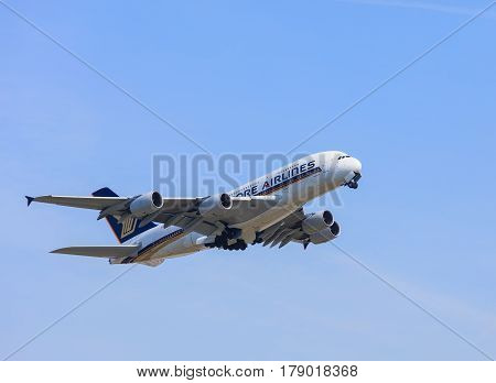Kloten, Switzerland - 29 March, 2017: Airbus A380 airplane of the Singapore Airlines after take off in the Zurich Airport. Singapore Airlines is the flag carrier airline of Singapore.