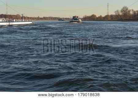 Ship traffic on the Rhine near Dormagen Zons in Germany.