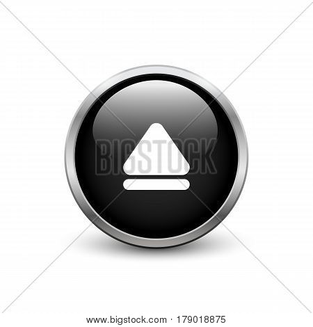 Eject black button with metal frame and shadow