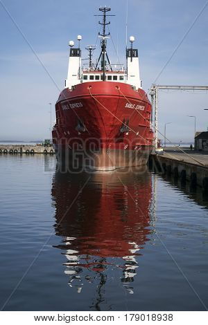ASSENS DENMARK - MARCH 24 2017:Offshore Tug Supply Ship. Sable Express in Assens harbor Funen Denmark. March 24 2017.