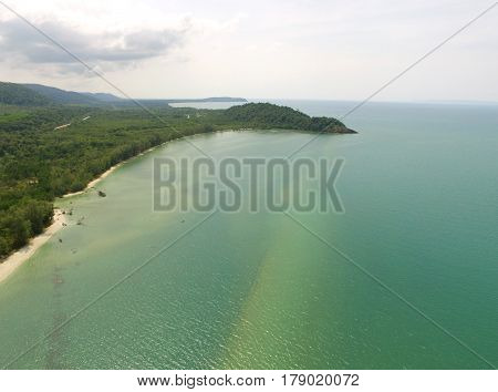 The emerald placid sea and Gulf of Thailand's coast aerial bird's eye view, Eastern Thailand