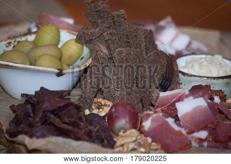 Italian Antipasti Wine Snacks Set. Brushettas Variety