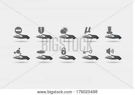 Set Of Hands In Giving Position With  Miscellaneous Mixed Icons