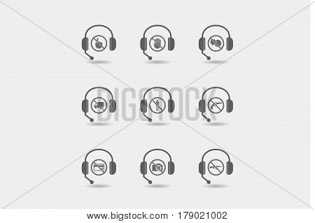 Set Of Hands Free Headsets With  Prohibition Related Icons