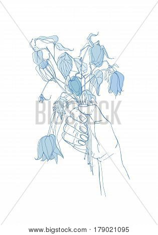 withered flowers in her hand, gone feeling concept, Hand drawn illustrations