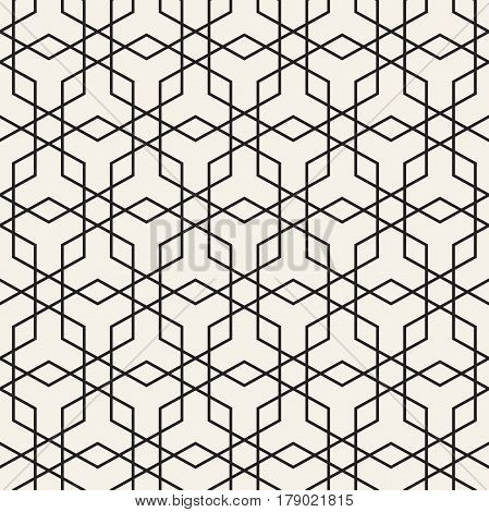 Vector Seamless Line Grid Pattern. Abstract Geometric Background Design. Stylish Lattice Texture