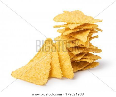 nachos chips on white background