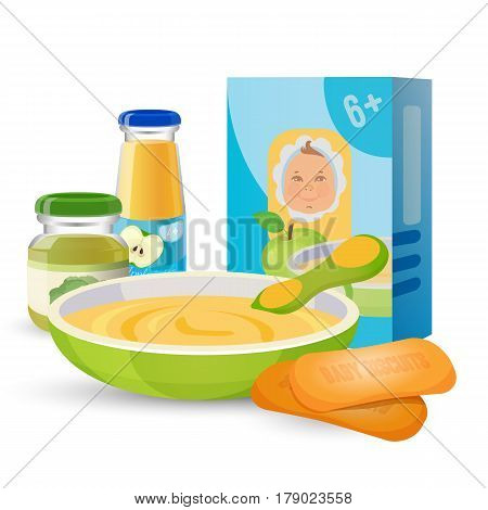 Healthy breakfast for baby with porridge pack and bowl of puree with spoon, two biscuits, jars of apple juice and broccoli puree. Vector collection of baby food isolated on white in flat design