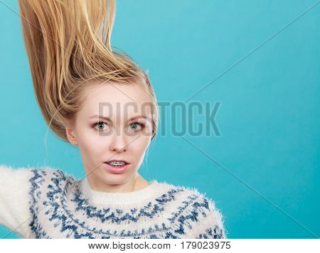 Crazy Blonde Woman With Windblown Blonde Hair