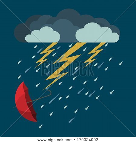 Lightning and heavy rain with falling red umbrella icon in flat style on blue background. Vector illustration of bad weather condition. Dark clouds with falling raindrops and yellow lightning arrows
