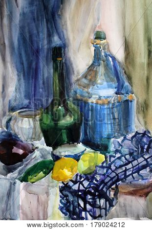 still life gouache color painting the kettle and dinnerware blue, bottle, glass