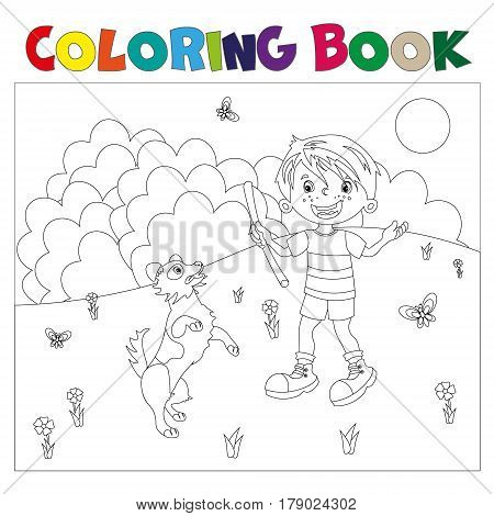 Coloring page outline cartoon boy with dog. Coloring book for kids