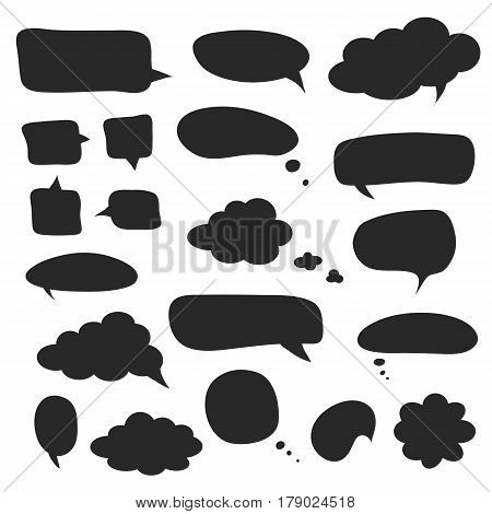 Set of black speech bubbles and dialog balloons. Simple elements for your design