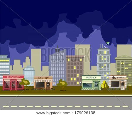 Coffee house, restaurant, bakery, bookshop in the night city