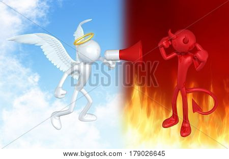 Angel Yelling At A Devil The Original 3D Characters Illustration