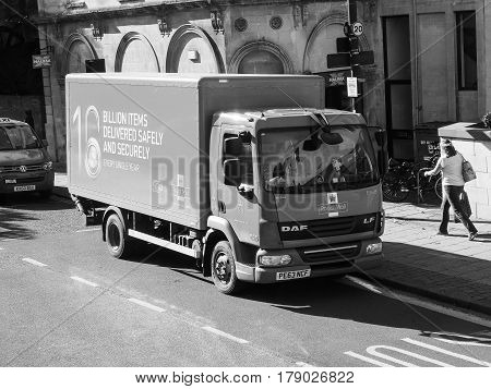 Royal Mail Lorry In Bristol In Black And White
