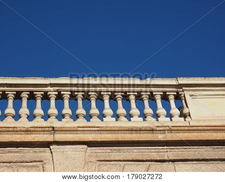 Baroque Balustrade Over Blue Sky