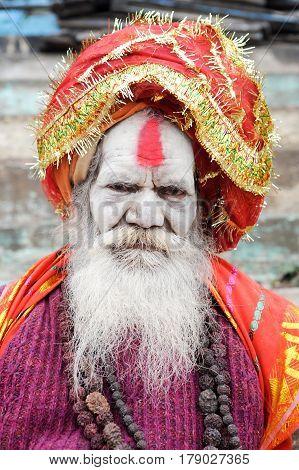 Holy Man Posing At Varanasi On India