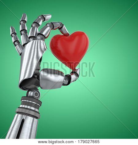 3d image of robot hand holding red heard shape decoration against green vignette
