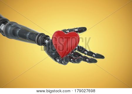 Three dimensional image of cyborg showing red heart shape against yellow vignette 3d