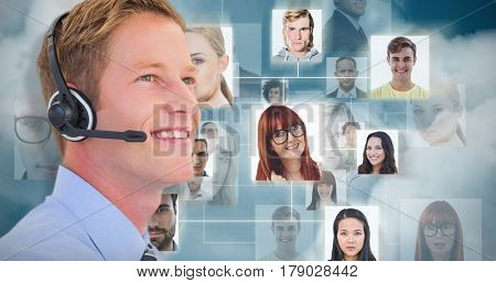 Handsome agent with headset against dark blue background
