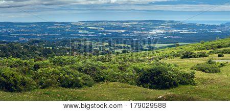View from Haytor to the Devonian hills. Dartmoor National Park. Devon. England