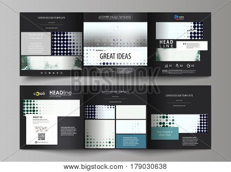 Set of business templates for tri fold square design brochures. Leaflet cover, abstract flat layout, easy editable vector. Halftone dotted background, retro style grungy pattern, vintage texture. Halftone effect with black dots on white.