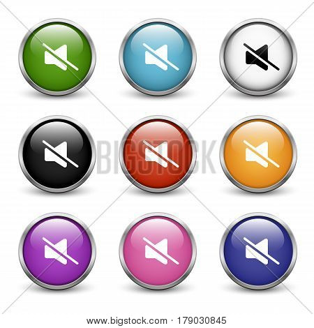 Mute icons set of nine colored buttons with metal frame and shadow