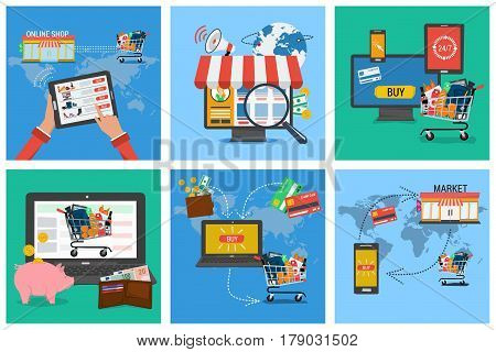 Vector set of six square banner shopping online. Infographics of online payment and fast delivery of goods. Cash, money pig and shopping trolley with a laptop in flat style