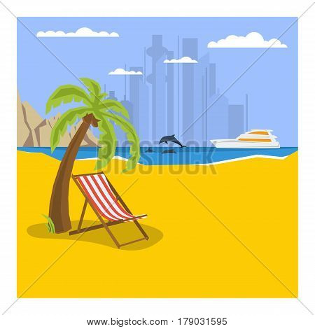 Vector summertime square traveling banner template. Deck chair under palm tree on beach. Yacht in the sea, dolphins, moutains in flat style